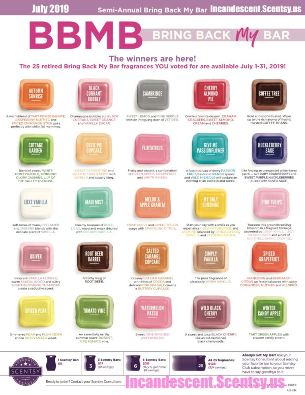 SCENTSY BRIN BACK MY BARS JULY 2019