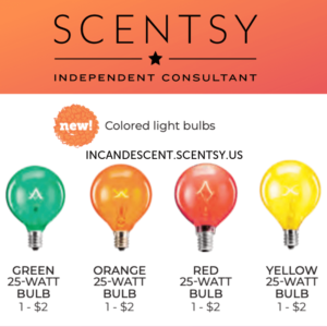 SCENTSY COLORED LIGHT BULBS 25 WATT