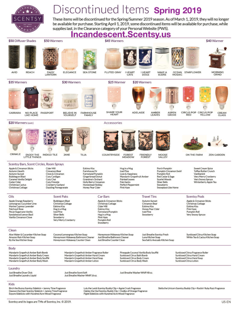 SCENTSY DISCONTINUED LIST SPRING 2019 INCANDESCENT (1) (1) | SCENTSY DISCONTINUED PRODUCTS SPRING 2019