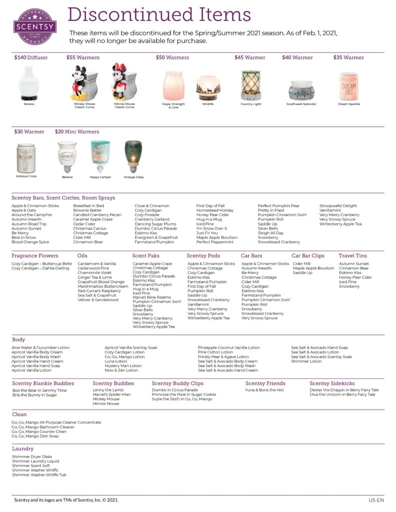 SCENTSY DISCONTINUED LIST SPRING 2021 page 0