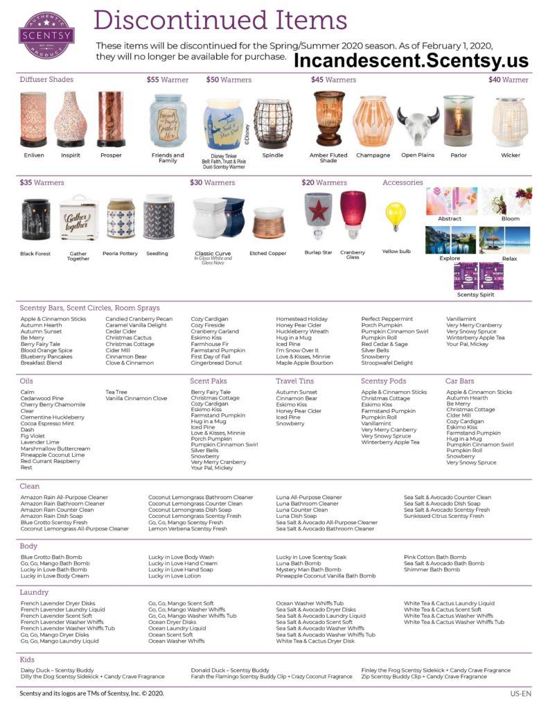 SCENTSY DISCONTINUED LIST SPRING SUMMER 2020