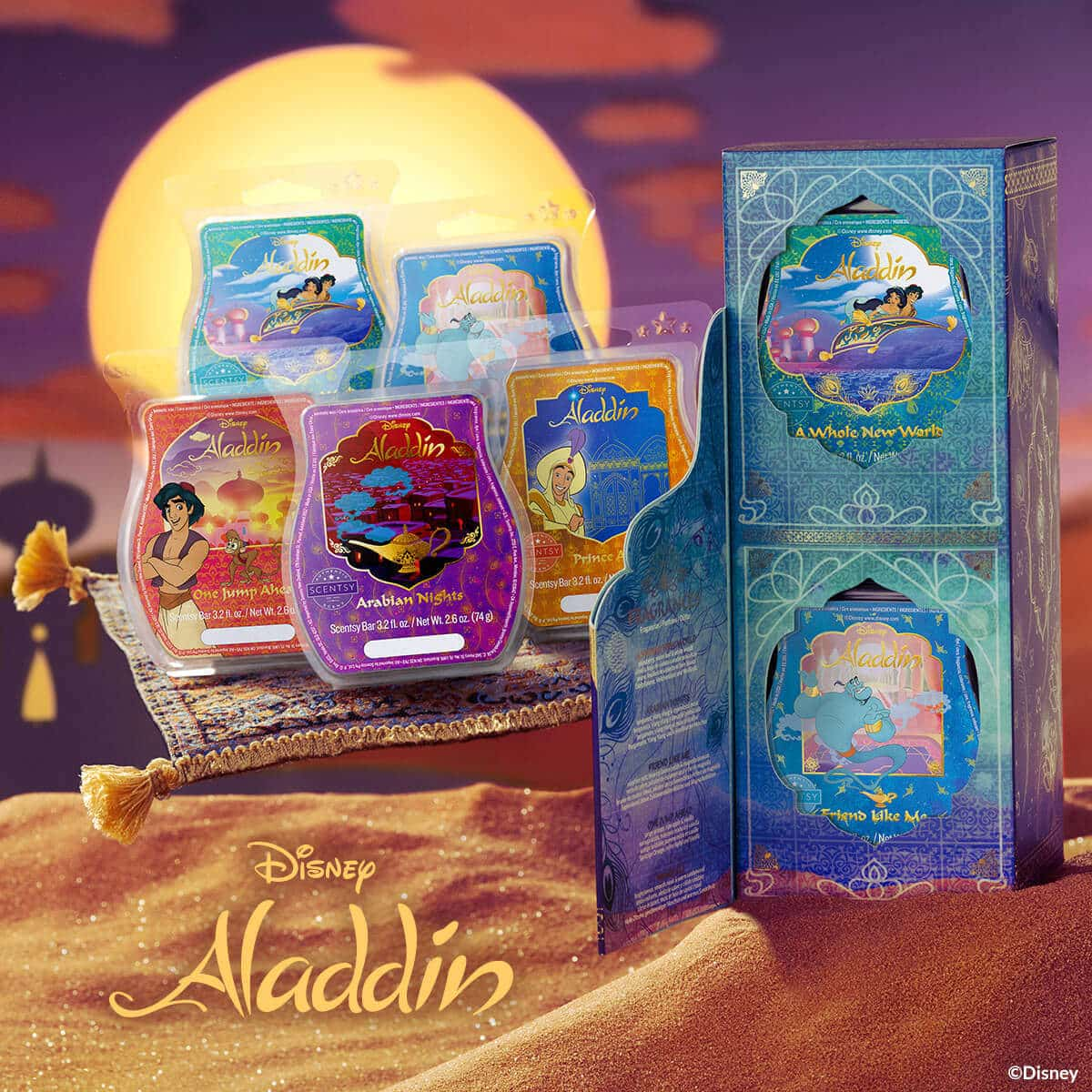 SCENTSY DISNEY ALADDIN BOXED WAX COLLECTION