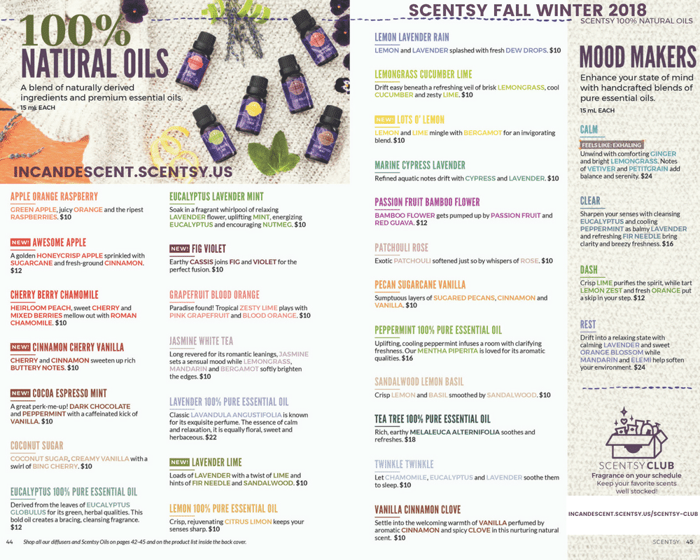 SCENTSY FALL 2018 CATALOG LIST OF SCENTSY OILS | SCENTSY COMPLETE SCENT LIST FOR FALL WINTER 2018 2019