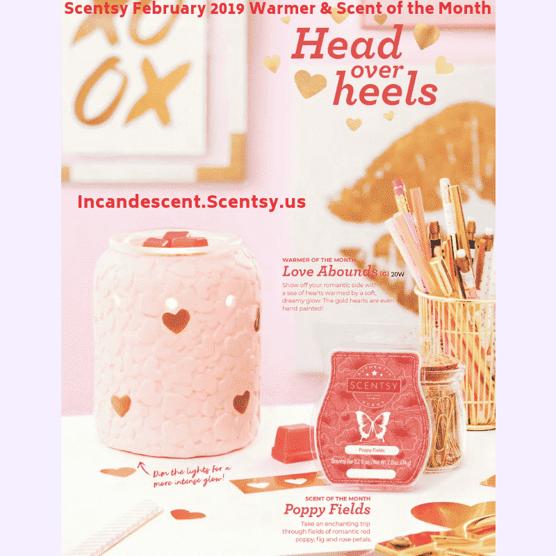 SCENTSY FEBRUARY 2019 SCENTSY WARMER & SCENT OF THE MONTH - LOVE ABOUNDS & POPPY FIELDS