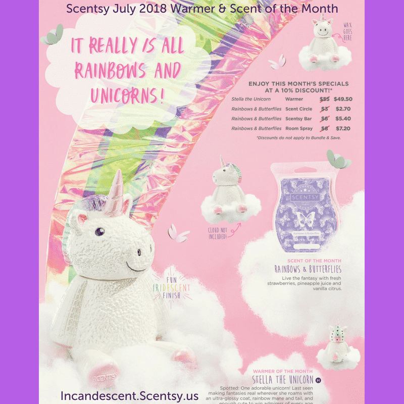 SCENTSY JULY 2018 WARMER & SCENT OF THE MONTH | SCENTSY JULY 2018 WARMER & SCENT OF THE MONTH - STELLA THE UNICORN SCENTSY WARMER & RAINBOWS AND BUTTERFLIES FRAGRANCE | Scentsy® Online Store | Scentsy Warmers & Scents | Incandescent.Scentsy.us