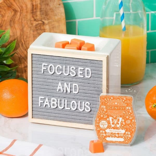 SCENTSY JULY 2020 WARMER & SCENT OF THE MONTH – LETTER BOARD WARMER & RISE AND SUNSHINE SCENT