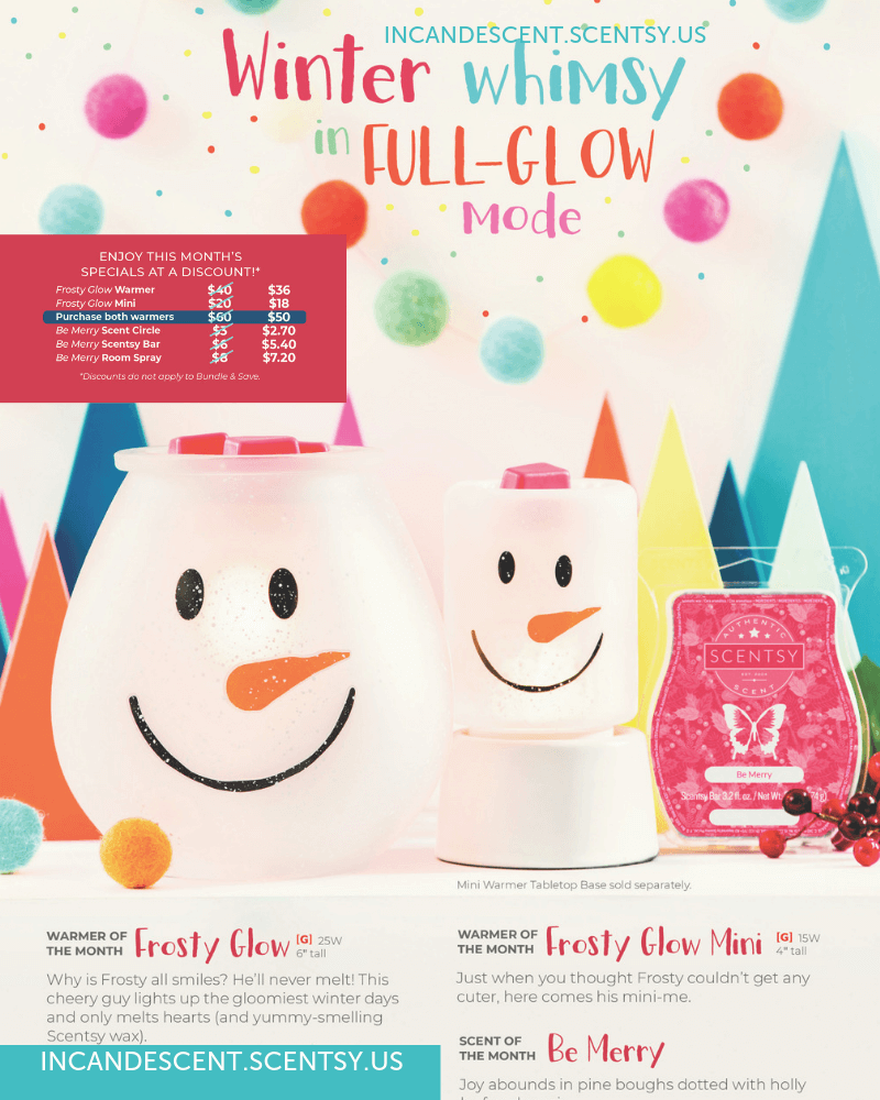 SCENTSY NOVEMBER 2018 WARMER & SCENT OF THE MONTH | SCENTSY NOVEMBER 2018 WARMERS & SCENT OF THE MONTH - FROSTY GLOW & BE MERRY SCENTSY FRAGRANCE