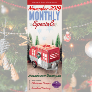 SCENTSY NOVEMBER 2019 WARMER & SCENT OF THE MONTH - CHRISTMAS CAMPER