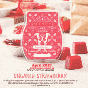 SUGARED STRAWBERRY SCENTSY FRAGRANCE | SCENTSY APRIL 2019 WARMER & SCENT OF THE MONTH - STRAWBERRY BASKET SCENTSY WARMER & SUGARED STRAWBERRY SCENTSY FRAGRANCE