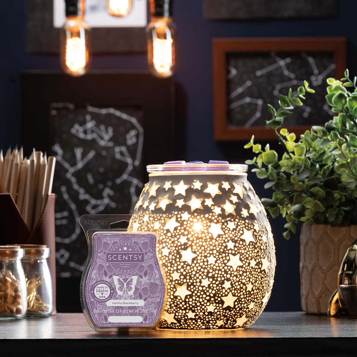 Scentsy August 2021 Warmer & Scent of the Month – Night Sky Scentsy Warmer & Vanilla Blackberry