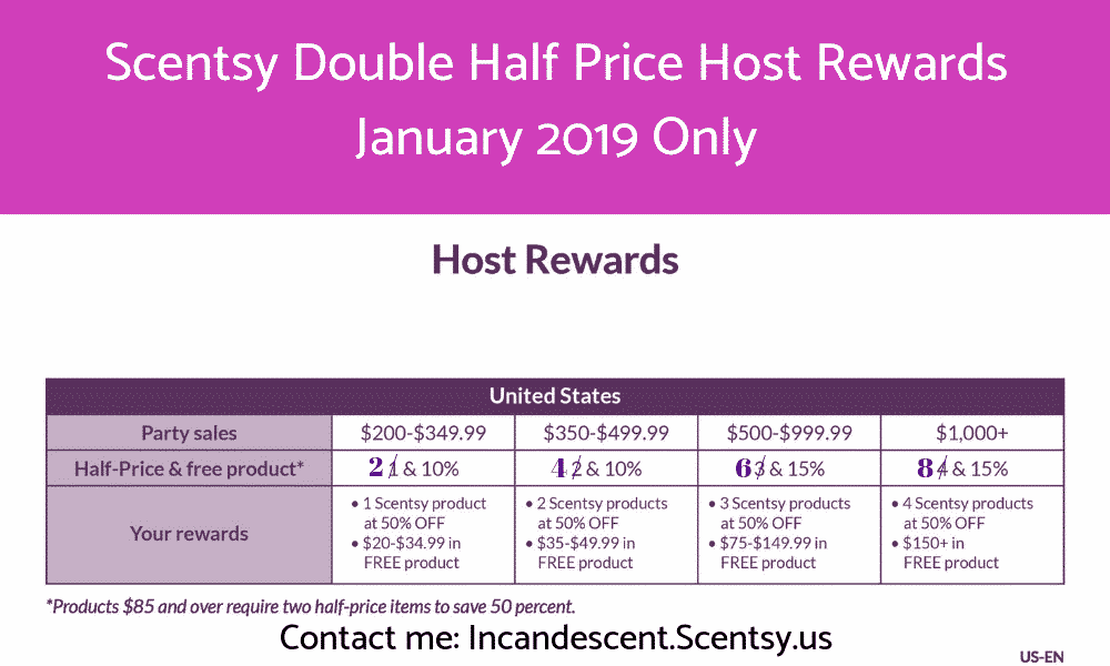Scentsy Double Half Price Host Rewards January 2019 (1)   Scentsy Party - January 2019 - Double Half-price Host Rewards