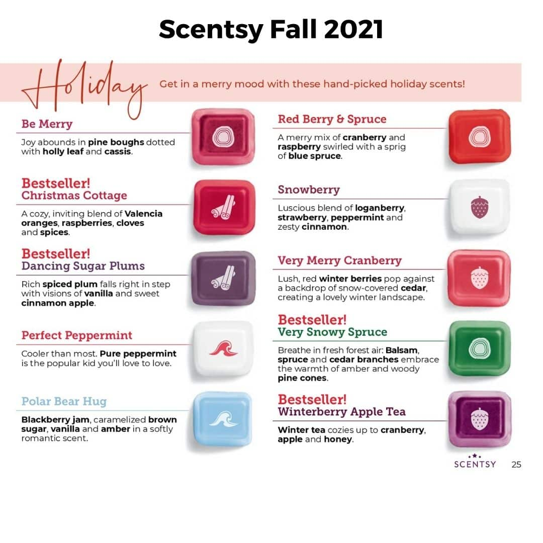 Scentsy Fall 2021 Holiday Scents