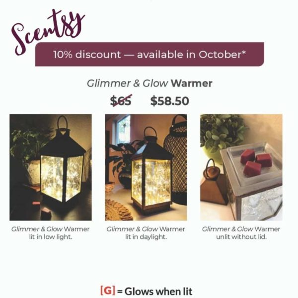 Scentsy Glimmer GLow Warmer In real life images