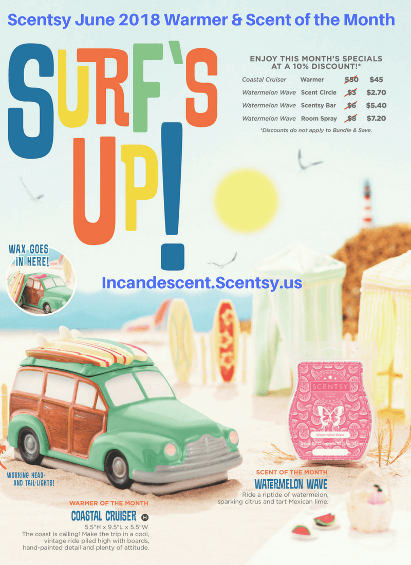 Scentsy June 2018 Warmer & Scent of the Month (1)   SCENTSY JUNE 2018 WARMER & SCENT OF THE MONTH - COASTAL CRUISER SCENTSY WARMER & WATERMELON WAVE SCENTSY FRAGRANCE