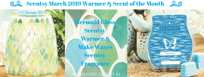 Scentsy March 2019 Specials Mermaid Glass Incandescent.Scentsy.us | SCENTSY MARCH 2019 WARMER & SCENT OF THE MONTH - MERMAID GLASS SCENTSY WARMER & MAKE WAVES FRAGRANCE