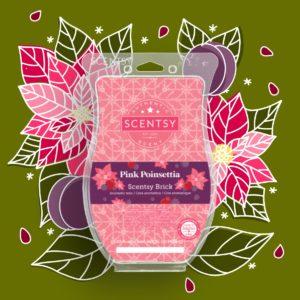 Scentsy Pink Poinsettia Brick 2021 Holiday1