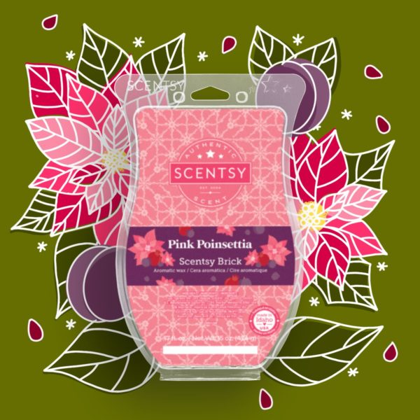 Scentsy Pink Poinsettia Brick 2021 Holiday1 | Pink Poinsettia Scentsy Brick | Holiday 2021