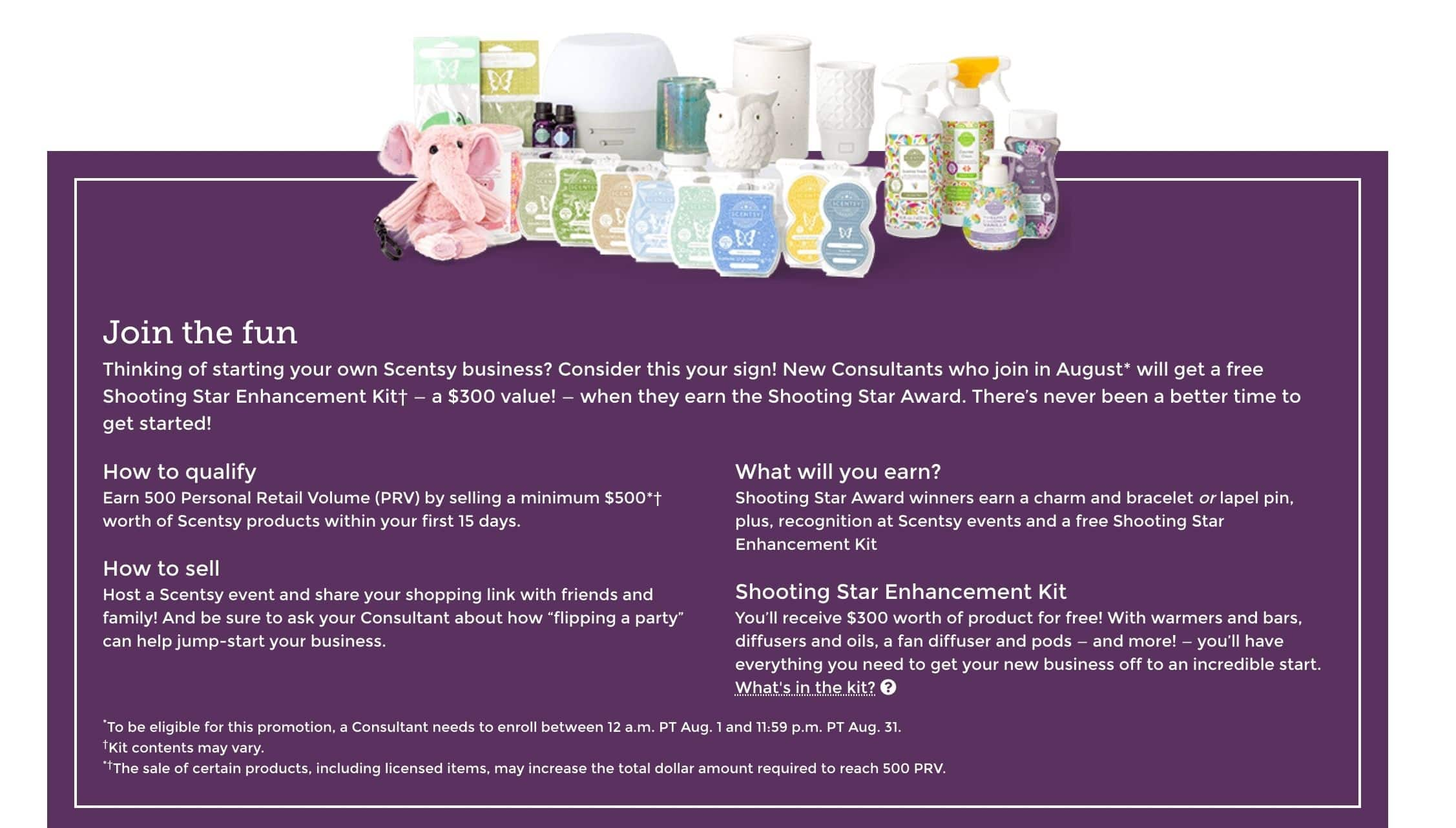 Scentsy Shooting Star Kit 2021 Fall Special