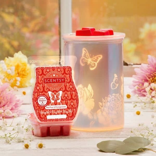 Scentsy February 2021 Warmer & Scent of the Month – Cast Pink Scentsy Warmer with Spring Pack | Red Pear & Pomegranate