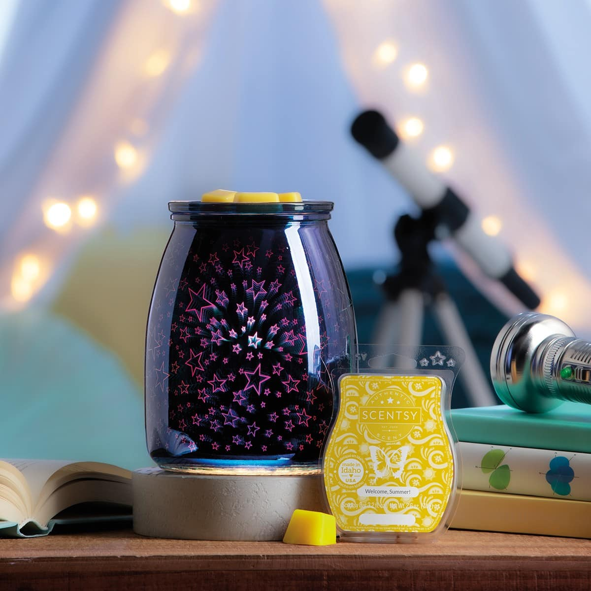 SCENTSY JUNE 2020 WARMER & SCENT OF THE MONTH - SUMMER NIGHTS WARMER & WELCOME SUMMER